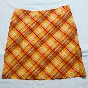 AEO Plaid Yellow Orange 100% Cotton Skirt